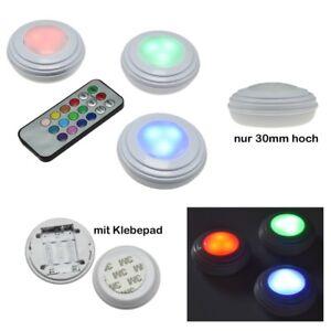 3-LED-Unterbauleuchten-RGB-amp-weiss-Fernbedienung-Batteriebetrieb-Unterbaustrahler