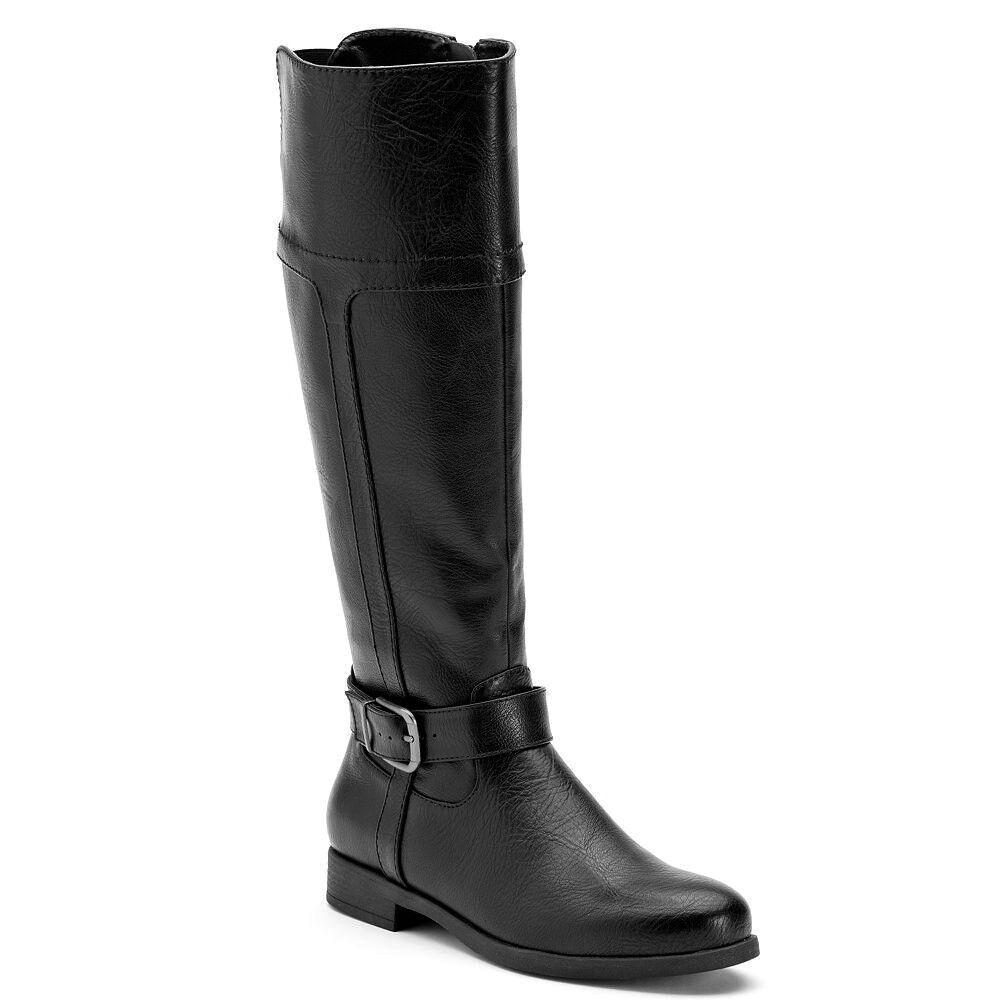 Womens CROFT & BARROW Wide Calf Tall Riding Boot Knee High BLACK sz 9 WIDE WIDTH