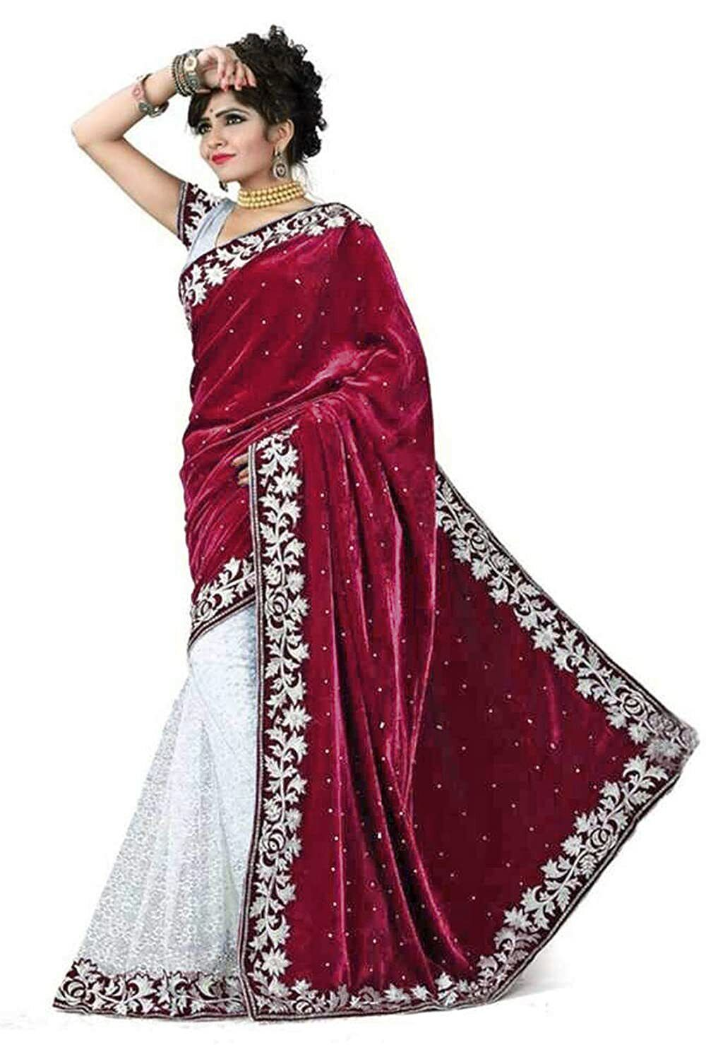 Women's Brocade Velvet & Rasal Net Saree With Unstitched Blouse -(Free Shipping)