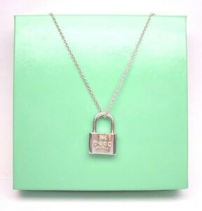 b352e42c29f4f Details about GENUINE RETIRED TIFFANY & CO 1837 LOCK PENDANT NECKLACE  STERLING SILVER 925 16