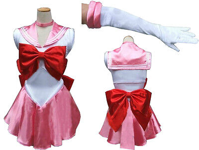 Sailor Moon Sailormoon Chibi Chibimoon Pink Cosplay Costume Gloves Tiara DHL