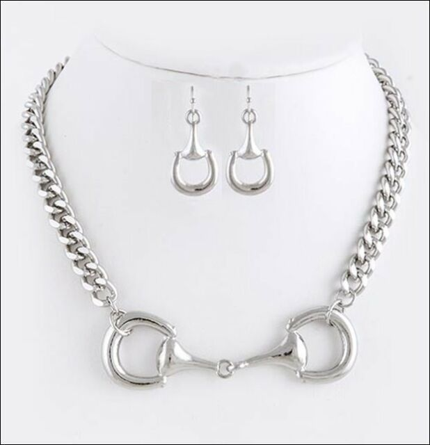 NEW Chunky Equestrian Horse Bit Necklace Designer Inspired
