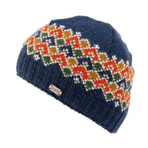 Kusan 100/% Wool Knitted Oversized Beanie Hat /& Matching Handwarmers Brown//Blue