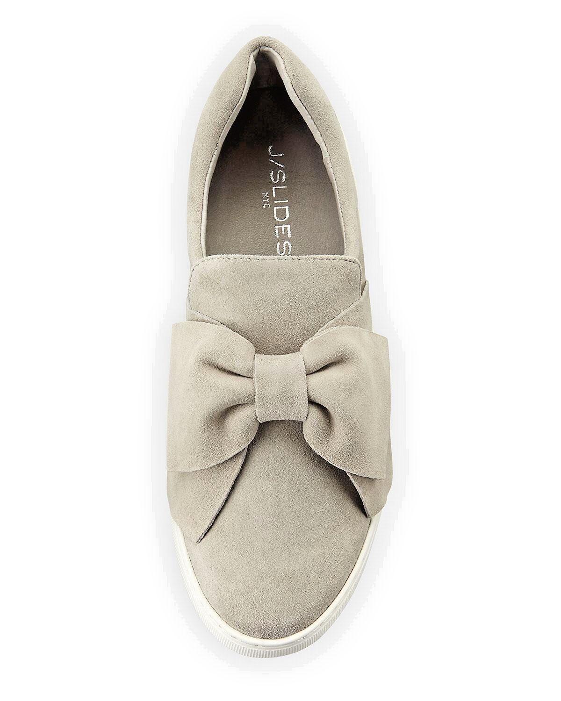J Slides Beauty femmes's Taille 10 gris Suede Bow Slip On baskets Memory Foam New