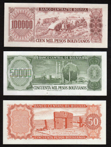 Bolivia Central Bnak Lot of 3 Notes 50 50000 100000 Pesos 1962 1984  UNC!!!!