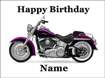 Harley Davidson 19cm Edible Cake Topper Icing Image Birthday Party Decoration