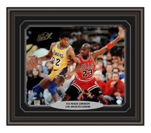 Magic-Johnson-Signed-amp-Custom-Framed-Lakers-16x20-PSA-DNA-COA-Jordan-Autograph