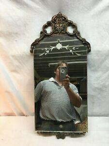 Vintage-Old-Etched-Cut-Glass-Glass-Mirror-Wood-Frame-Elegant-1800s