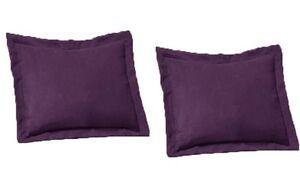 2-Piece-Queen-Size-Shams-Solid-Purple-Cover-Case-Micro-Suede-Decorative-Pillow