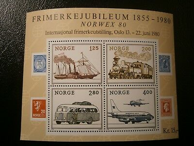 """Vornehm Norwegen Block 3 Mit Nummeriertem Ausstellungsschwarzdruck """"norwex 80"""" Briefmarken"""