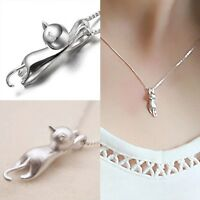 Women Glamour 925 Sterling Silver Plated Cat Charm Pendant Chain Necklace