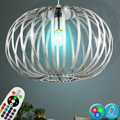 Smart Home RGB LED Decken Kugel Leuchte Farbwechsel Hänge Lampe Federn Dimmer