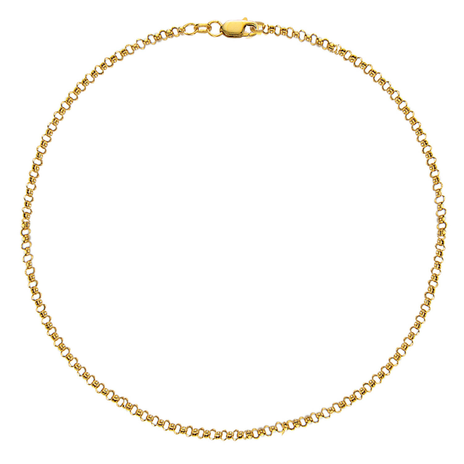 10k Solid gold Rolo Chain Ankle Anklet 10 Inches (Yellow and White)