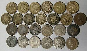 Lot-of-25-Indian-Cents-1859-2-1863-11-1864-9-1865-3-Civil-War-Coins-Circ-918