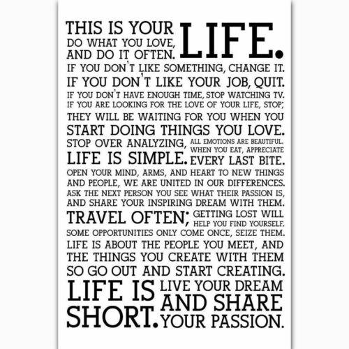 T715 Hot Holstee Manifesto LIFE Motivational Custom Silk Poster Art Decor