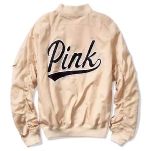 Geheim Reißverschluss Neu Gesticktes Bomber Pink Jacke Größe Logo M Victoria's H2EIe9YWD