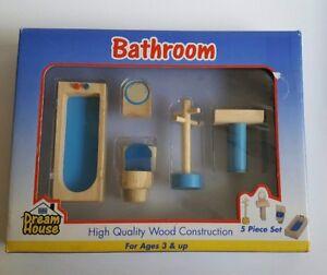 DREAMHOUSE-Bathroom-Furniture-for-Barbie-Doll-Sink-Toilet-Bath-Tub-5-Pc-Lot