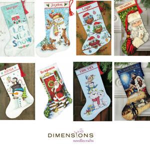 Dimensiones-Oro-contado-Cross-Stitch-Kit-Navidad-Stocking-Santa-Muneco-de-nieve