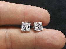 3CT Lab Created Diamond Earrings 14k White Gold Princess Cut Stud Screw Back
