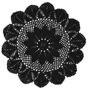 Crochet Cotton Round Doily 35cm Black