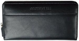 Brown-Bear-Geldboerse-Damen-NappaLeder-schwarz-Reissverschluss-Frauen-Portemonnaie