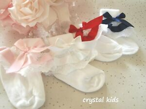 Baby Girls White Burgundy Satin Christening Wedding Frilly Socks  ** HANDMADE **
