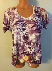 d63dcc03eb0b6 Women s Tanjay Size Medium Tiered Shirt SS Purple Stretch Blouse ...