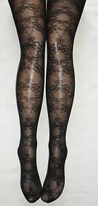 BEAUTIFUL-BLACK-LACE-FLORAL-NET-TIGHTS-BURLESQUE-PANTYHOSE