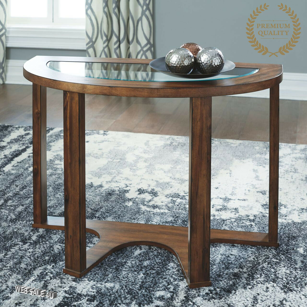Picture of: Brown 2 Shelf Console Table Semi Circle Hall Entry Way Furniture Sofa Accent For Sale Online Ebay