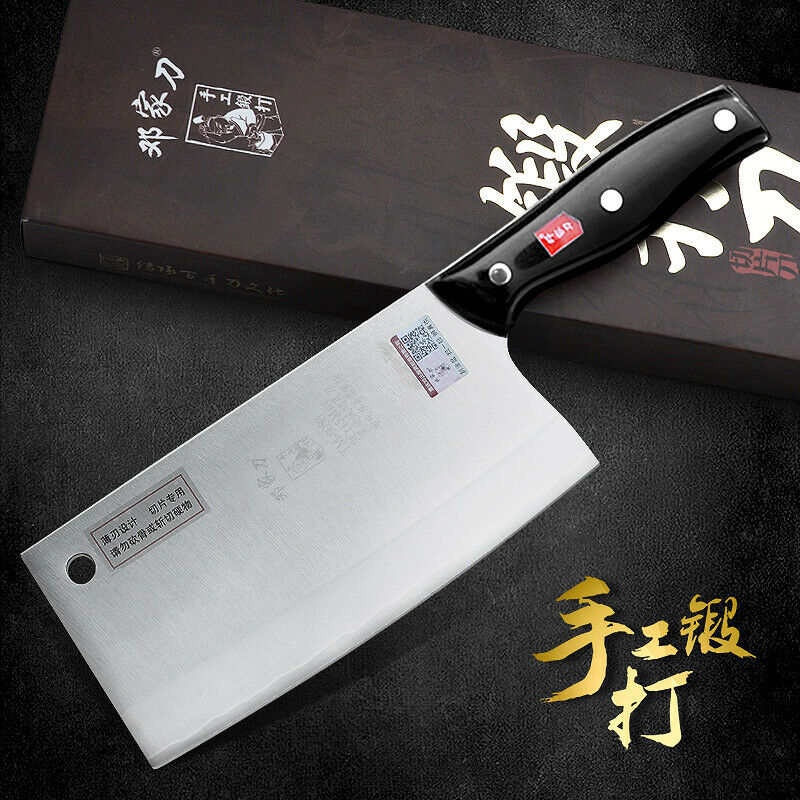 Japonais Cleaver couteau en acier inoxydable lame Trou trancher Couper Hacher Noir