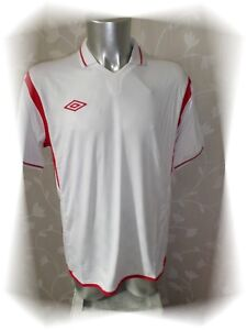 A-Maillot-T-shirt-Blanc-Rouge-Westham-Climatec-Umbro-Taille-L-Neuf
