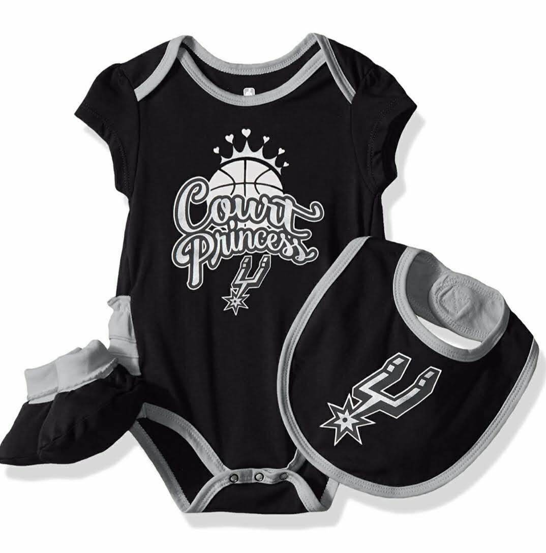 3-6 Months Heather Grey NBA by Outerstuff NBA Newborn /& Infant San Antonio Spurs Little Fan 3pc Bodysuit Set