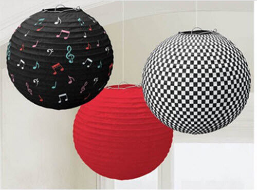 ROCK AND ROLL 1950s PAPER LANTERN DECORATIONS 1960s party supplies 3pcs