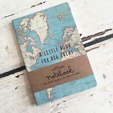 World Map Vintage Travel Big Ideas Notebook Sass & Belle Mini Journal Sketchbook