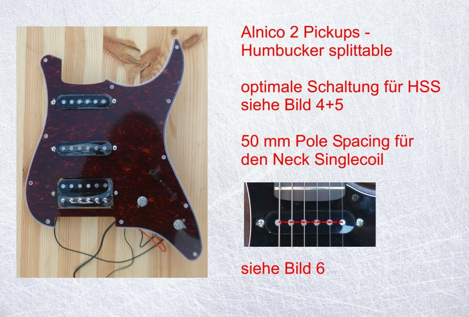 Loaded Pickguard HSS    Alnico 2  - tortoise - high output - bessere Schaltung