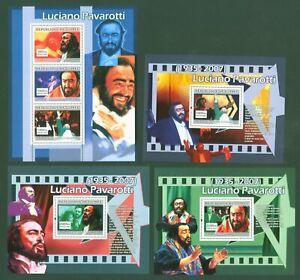 Guinea-2007-Luciano-Pavarotti-Opernsaenger-Tenor-4911-13-Block-1305-07
