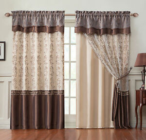 c4877edd9b220f Single Window Curtain Panel: 2-Layer , Gold Brown Embroidered Sheer ...