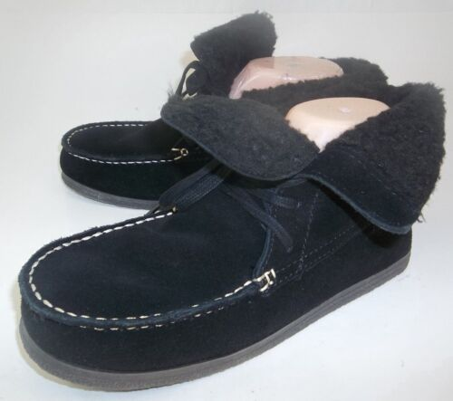 American Eagle Outfitters Womens Boots Ankle US 8 Black Suede Lace Moccasins T29