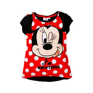DISNEY-t-shirt-MINNIE-3-4-6-ou-8-ans-noir-rouge-manches-courtes-NEUF