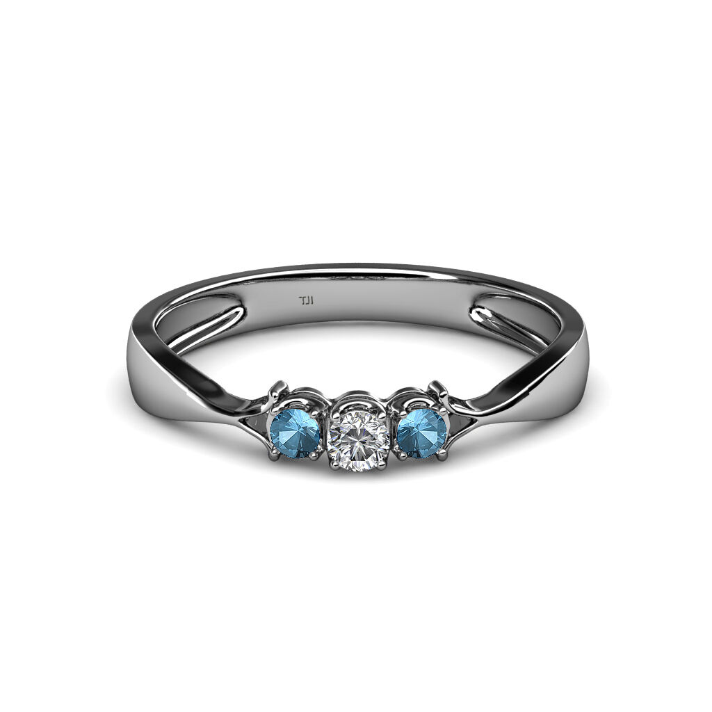 Diamond and bluee Topaz Three Stone Ring 0.17 cttw in 14K gold JP 34589