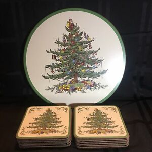 SPODE CHRISTMAS TREE Trivet And 12 Coasters - Corked Back ...