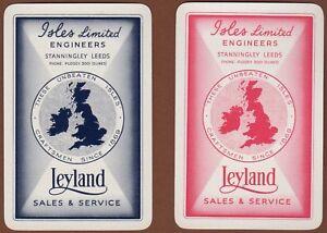 Playing-Cards-2-x-Single-Card-Old-LEYLAND-MOTORS-Sales-Advertising-ISLES-Leeds
