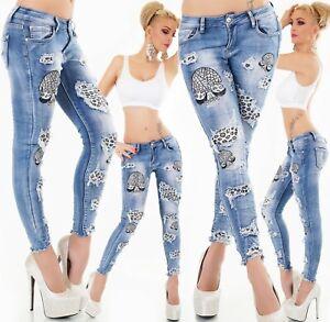 Original-Jeans-Hose-vaqueros-pitillo-Skinny-bordado-con-pedreria-leo-grietas-Stretch-xs-xl