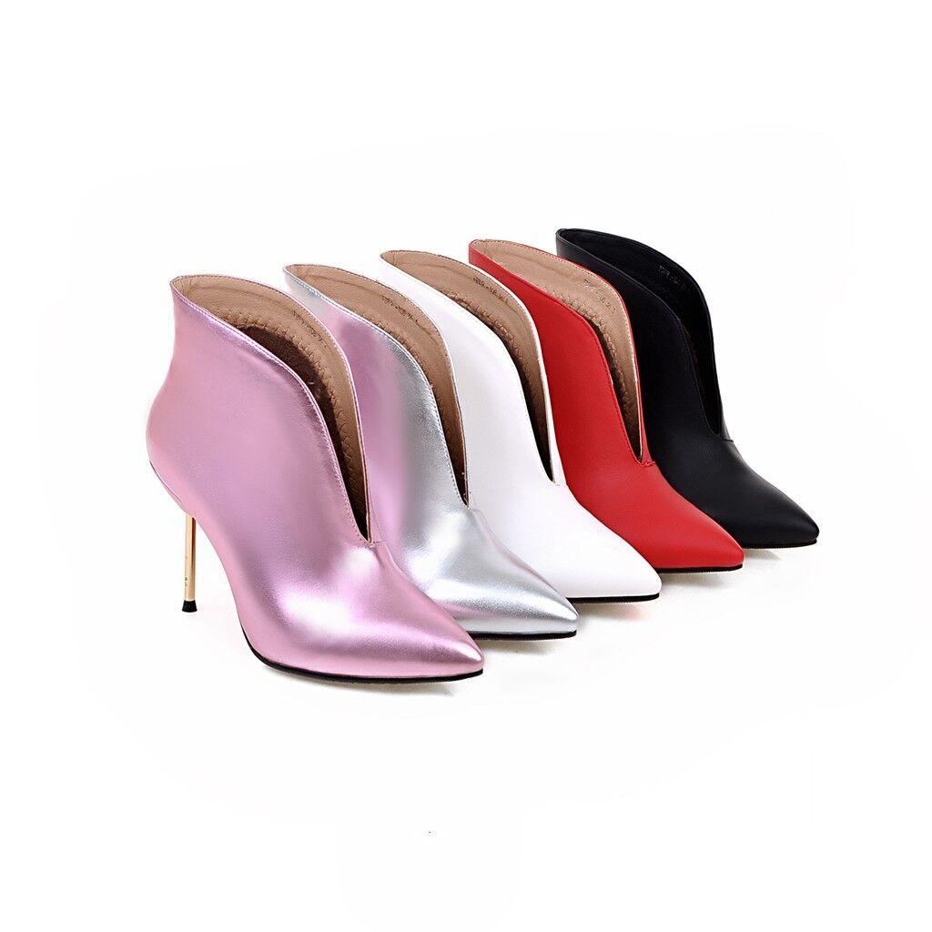 Para mujeres Zapatos De Taco Alto Zapatos Puntiagudo Puntiagudo Puntiagudo Negro blancoo rosado Plata Imitación Cuero botas al tobillo  tomar hasta un 70% de descuento