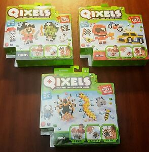 Lot of 3 New Qixels Refill Packs - Bugs, Pirates & Racing (Series 3)