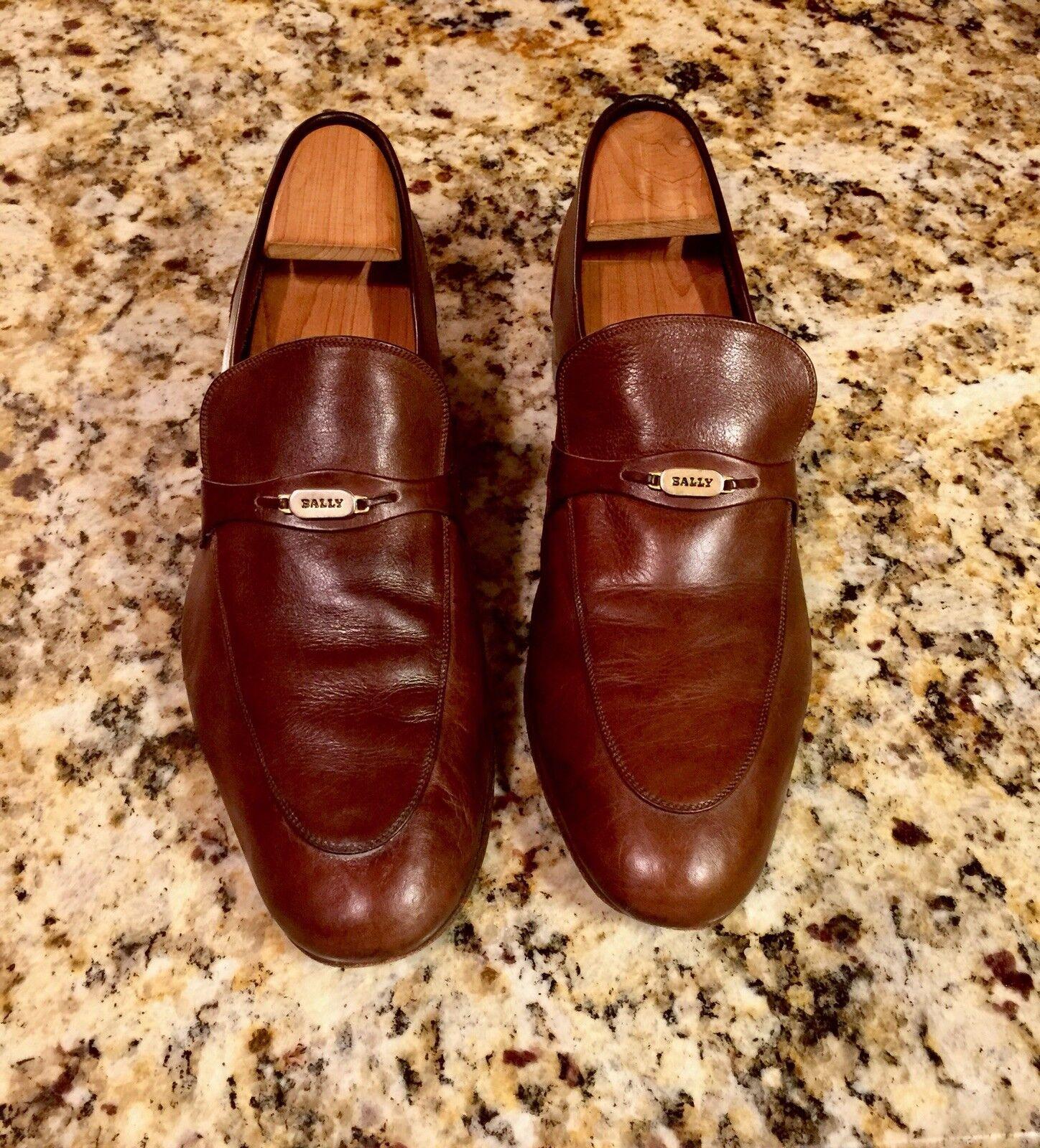 Bally Slip-On Uomo Shoes 9.5 Brown Bit Loafers
