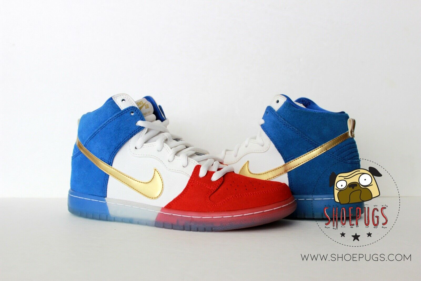 2016 Nike Dunk SB High Tricolor USA sz 9.5 w  Box red royal    TRUSTED SELLER