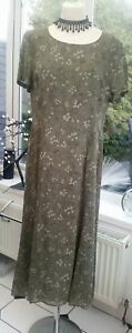 Vintage-Jaeger-Floral-Green-Midi-Maxi-Dress-Size-14-in-Great-Condition-Lined