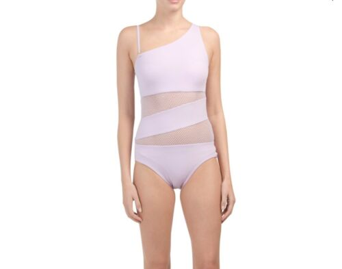 NWT Carmen Marc Valvo Sp;iced Mesh One Shoulder One Piece Swimsuit Various SZ 12