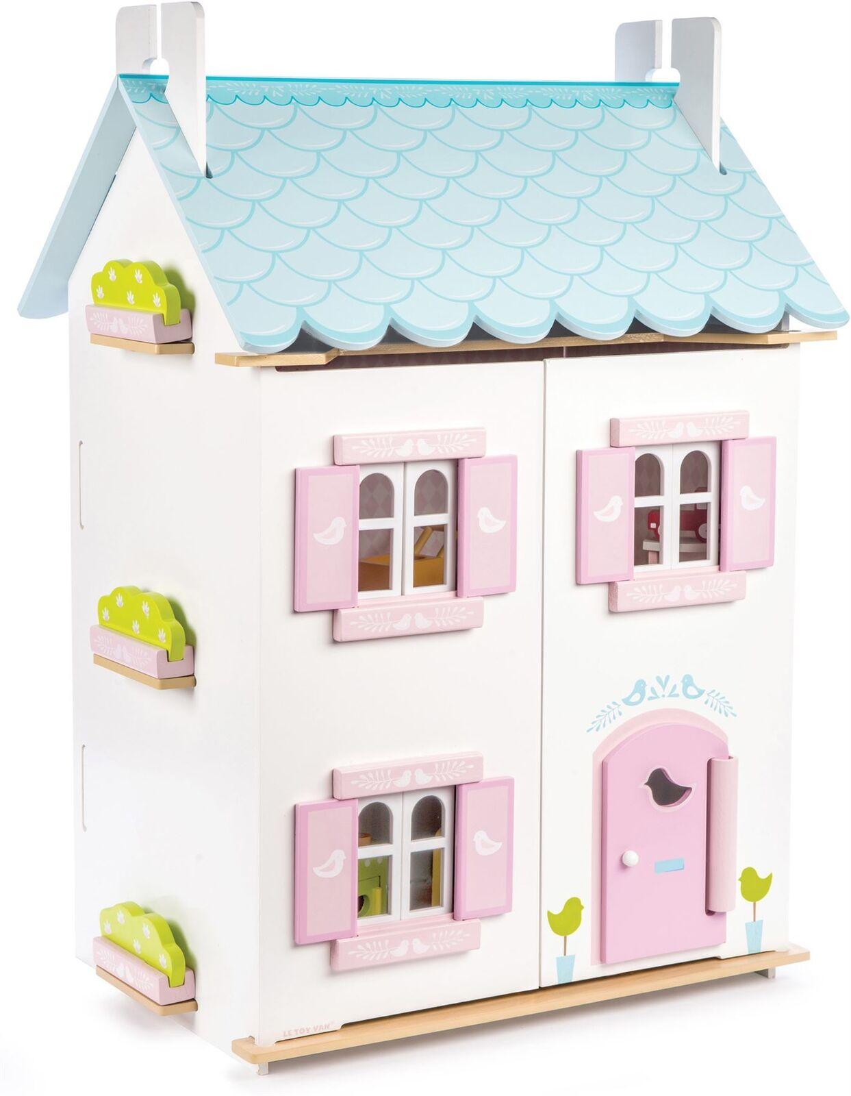 Le Toy Van DOLLHOUSES blueE BIRD COTTAGE INC FURNITURE Wooden Dolls House BN